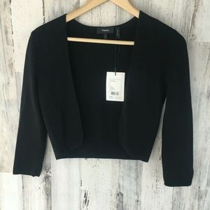 Theory Amarissa Cropped Open Front Cardigan Black